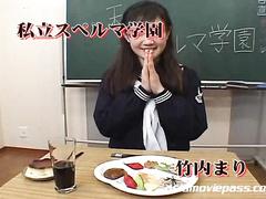 Asian school girl gets jizzed in hardcore bukkake