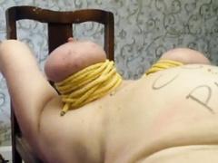 BBW sub female slave spanked and roped really hard