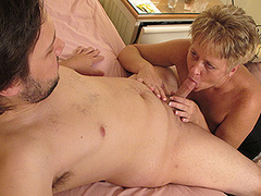 Hot dude first tries mature whore on hig big cock
