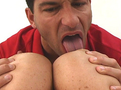 Hungry dude eats huge jugs and makes the bitch cum