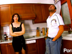 Horny French mom gets ass pounded in the kitchen