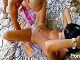 Sexy hottie in hardcore beach pounding in public