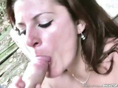 Booby bitch Michala loaded with big cock outdoors