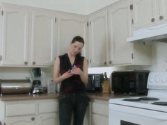 Lovely doll and dude have rough sex in the kitchen