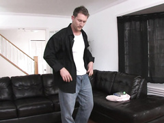 Strong Tarzan does some dirty things on the sofa