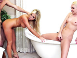 Aaliyah Love and Tasha Reign getting their cunts slammed in the bathroom