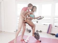 Ebony sportswoman Sarah Banks gets it on anally during ass training