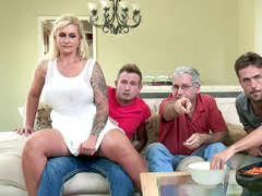 Naughty MILF Ryan Conner secretly rides stepson's dick in living room