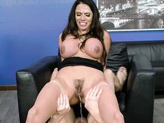 Unbeknownst to girlfriend guy thrust cock into anus of stepmom Ariella Ferrera