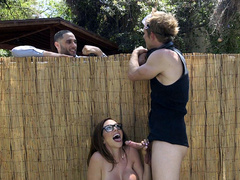 Latina with fuzzy hair Ariella Ferrera doesn't obstruct man shoving cock in mouth