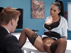 Tattooed office girl Katrina Jade in black underwear harshly licked by boss
