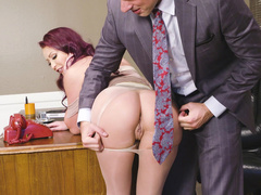 Boss tears Monique Alexander's pantyhose and licks this mom's pussy