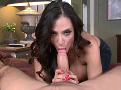 Horny Latina Ariella Ferrera sucks cock and strokes it with huge tits