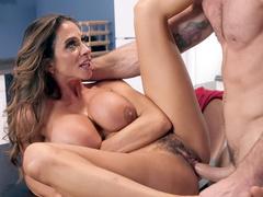 Busty Ariella Ferrera cheats on husband who is watching football game