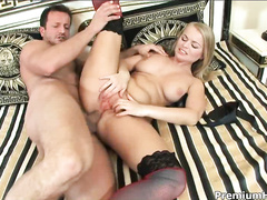 Young babe sucking George's cock, slobbering all around
