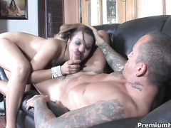 Awesome bitch Mercedez Sanchez giving head to cock