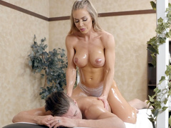 Topless mom Nicole Aniston with oiled body gives guy dream massage