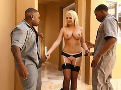 Well-rounded Alena Croft in black stockings caught by husband with two BBCs in mouth