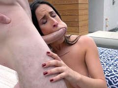 Guy caught hot Ashley Adams and punished her shoving cock in throat