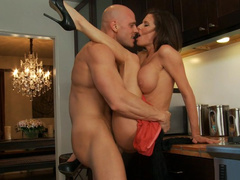 Classy MILF Veronica Avluv fucked in kitchen by bald personal chef