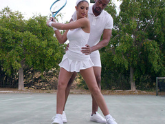 Sexy tennis mom August Ames in short skirt needs shoulder massage