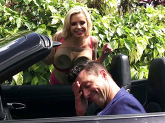Slutty Nina Elle puts so much effort into cheating just for a ride in supercar