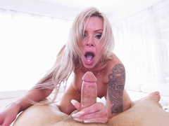Lovely Nina Elle can't think about anything when guy shoves cock in her mouth