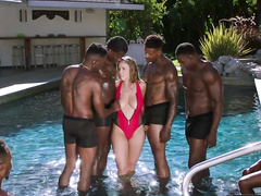 Excited black guys touch natural tits and ass of mom Lena Paul in pool