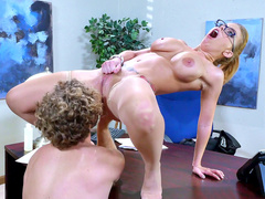 Curly office worker takes a break to lick pussy of busty mom Britney Amber