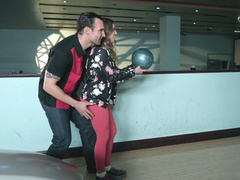Sultry stepmom Britney Amber adores bowling and stripping in front of stepson
