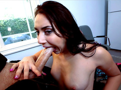 Girl with fantastic booty Mandy Muse pleases her man with blowjob