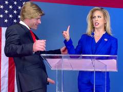 Politician lets rival candidate Cherie DeVille suck his erect cock