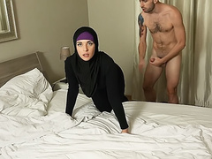 Naked stud roughly penetrates innocent Arab girl Tina Spice in doggy