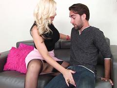 Sexy and busty pornstar Alena Croft seduces dude with big tits