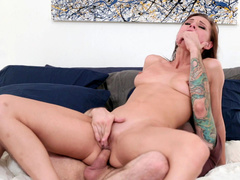 Aidra Fox jumps on dick of father's best friend like crazy cowgirl