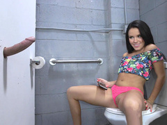 Cheating wife Megan Rain is grateful to man for doing her mouth through gloryhole