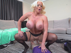 Huge titted mom Alura Jenson rides step son hard prick on the floor