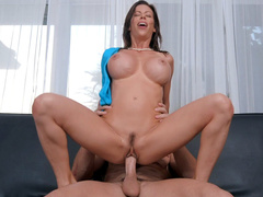 Busty mom Alexis Fawx rides the hard cock with her trimmed pussy