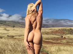 Beautiful girl Anikka Albrite takes off clothes in the fresh air