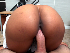 Secretary Arianna Knight rides her boss's cock in a pov view