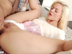 Stepdaughter Elsa Jean gets her petite breasts covered in cum by daddy