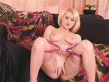 Nasty blonde bitch rubs her tight pussy till orgasm