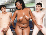 Ebony Mom Having Fun With Stepson and His Friend