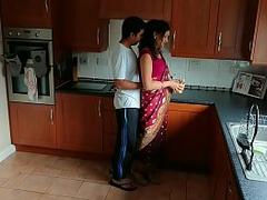 Red saree Bhabhi caught watching porn seduced and fucked by Devar dirty hindi audio