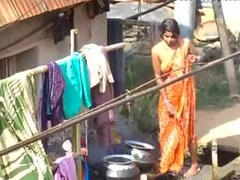 village bhabhi bathing outdoor