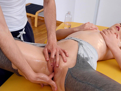 Amaris gets her oiled pussy fingered by her massage therapist Jordi