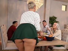 Milfy slut Ryan Keely and stepson enjoy XXX activity in the kitchen