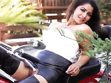 Desi XXX slut Maya Rati, pleasures herself on a Harley Davidson