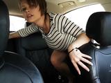 Crazy slut masturbates and squirts in the car