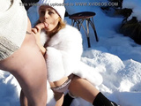 Hot fuck in the cold snow: blowjob, reverse cowgirl, doggystyle and pussy creampie in the fur coat